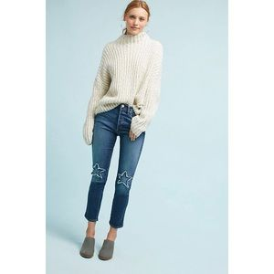 Anthropologie McGuire Women's Vintage Stars Mid-Rise Cropped Jeans in Blue